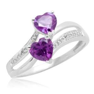 Gold Double Heart Shaped Amethyst with Diamonds Heart Ring, Size 10
