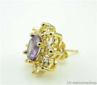 Oval Cut Purple Amethyst Stud Earrings Gold Plated Jewelry