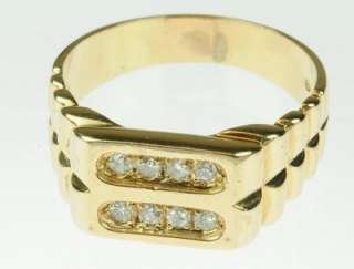 MENS 10K YELLOW GOLD DIAMOND CLUSTER ESTATE RING 85208