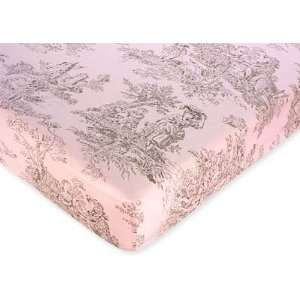 Pink and Brown Toile Crib Sheet   Toile Baby