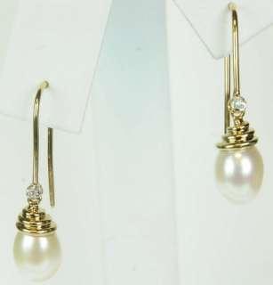 LADIES 10K YELLOW GOLD DIAMOND PEARL ESTATE EARRINGS 153029
