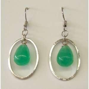 Fashion Jewelry ~ Oval Shape Hoop Jade Drop Earrings