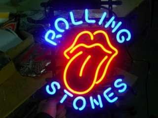 Rolling Stones Logo Beer Bar Pub Neon Light Sign M71