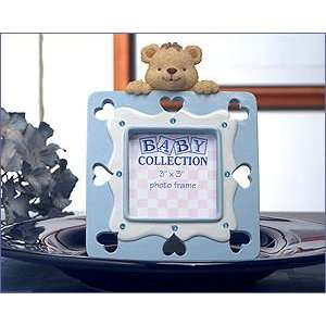 Blue Teddy Bear Frame Accented With Blue Crystals   Wedding Party