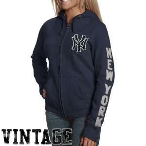 New York Yankees Ladies Navy Blue Charmed Full Zip Hoody