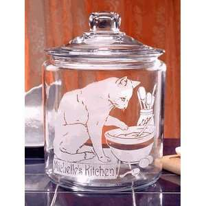 Personalized Cat in the Kitchen Glass Cookie Jar Kitchen