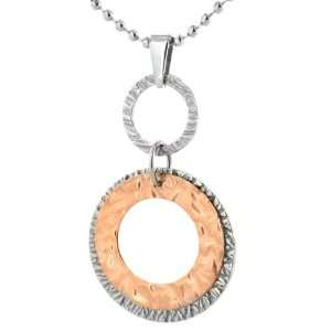 Rose Gold Plated Stainless Steel Double Circle Disc Pendant on a 20