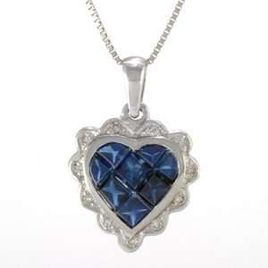 14k White Gold, Sapphire & Diamond Heart Pendant with Chain(1.00 ctw)