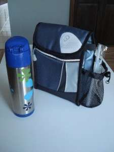LUNCH BAG COOLER TOTE with SS THERMOS NWOT Blue, Gray, & Black