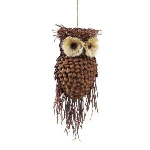 13 Modern Lodge Pine Cone and Twig Owl Christmas Ornament Decoration