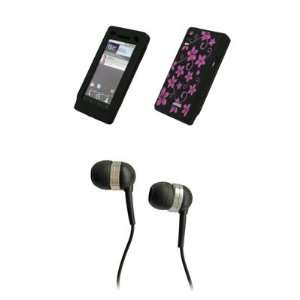 Black with Hot Pink Flowers Design Silicone Skin Cover