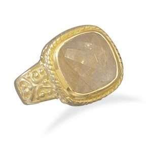 14 Karat Gold Plated Rutilated Quartz Ring/ Size 9