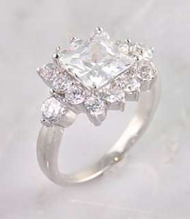 silver square princess cut round cz ice ring item r cz098 sterling