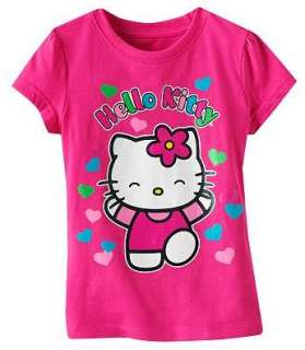 Hello Kitty Glitter Shirt Top Tee HEART Size 4 5 6 6X
