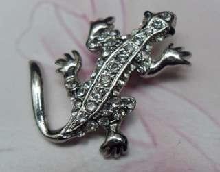 Silver CLEAR SWAROVSKI CRYSTAL Crocodile PIN BROOCH 4