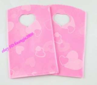100 Pc Pink Love Heart Plastic Jewelry Gift Bag 15X9cm