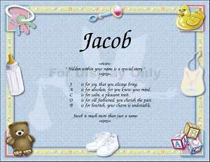Personalized Baby Name Poem Baby Shower Gift Keepsake