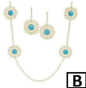18kt Gold Plated Filigree Station Necklace &Earring Set