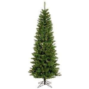 Pencil Pine 90 Artificial Christmas Tree with Multicolored LED Lights
