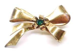 Vintage CORO Green Stone Gold Tone Bow / Ribbon Brooch