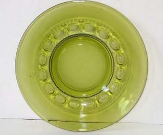 KINGS CROWN/THUMBPRINT SALAD PLATE GREEN CLEAR GLASS NICE