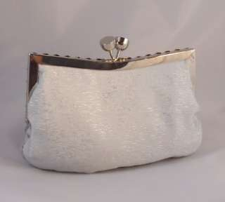 FORMAL SILVER SATIN Metallic EVENING BAG CLUTCH PURSE Wristlet