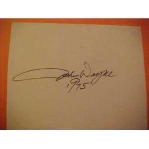 AUTOGRAPHED JOHN WAYNE Hand Signed 1975 Album Page w COA