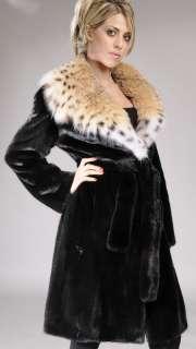 Black Nafa   natural  Let out   letout  Mink Fur Coat with full skin