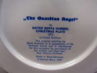 COLLECTOR CHRISTMAS PLATE Guardian Angel 4th Ed West Germany