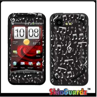 Music Note Black Vinyl Case Decal Skin Cover Verizon HTC Droid