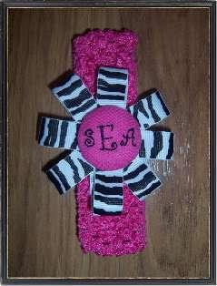 PERSONALIZED/MONOGRAM/CUSTOM Pink Zebra Baby Girls Hair Bow/Crochet