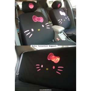 KITTY W/BOWKNOT UNIVERSAL CAR SEAT COVER SET BLACK H02 Automotive