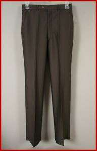 VINTAGE NOS MENS DARK BROWN DRESS PANTS 32 UNHEMMED