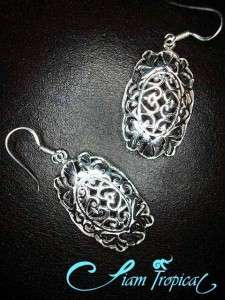 THAI STERLING SILVER EARRINGS Filigree Heart & Bow Hook