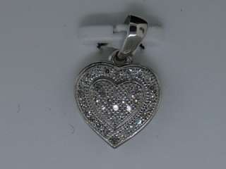 LADIES 10K WHITE GOLD DIAMOND PENDANT HEART LOVE CHARM