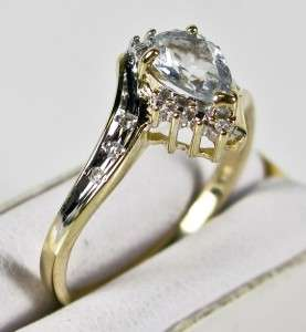 HiEnd Estate 10K Yellow Gold .62ctw Aquamarine & Old Cut Diamond Ring