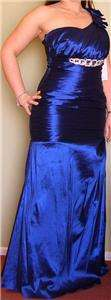One Shoulder Taffeta Mermaid Bridesmaid Gown Prom Evening Dress XL NW