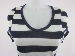 ROBIN K Blue White Stripes Short Sleeves Tee Shirt Sz S