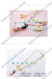 Fashion Lovely Baby Dazzling Crystal Pearl Gold Plated Necklace