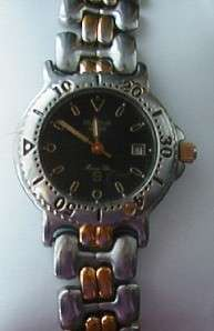 Bulova Marine Star Blk Dial   Two Tone Link Ladies Watch Used   No Box