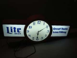 VINTAGE MILLER LITE BEER Lighted CLOCK SIGN