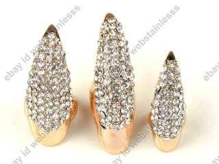 Nail Jewelry Crystal rhinestones Claw Paw Talon Finger Ring