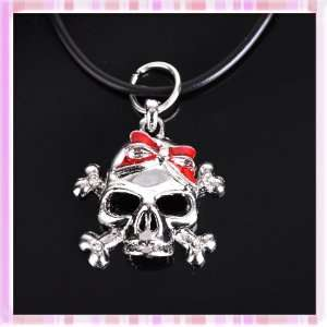 Hot Fashion Black Rubber Rope&skeleton Metal Plated Silver Pendant