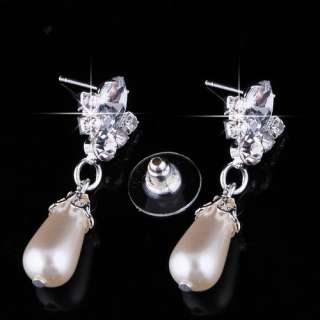 Wedding Jewelry Set Rhinestone Imitate Pearl White Necklace Earring
