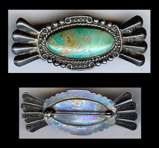 VINTAGE NAVAJO INDIAN STERLING SILVER & TURQUOISE PIN
