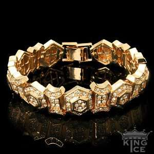 Yellow Gold Plated Iced Out Hexagon Hip Hop Bracelet Jewelry