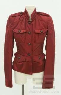 Yves Saint Laurent Maroon Silk Leather Button Flounce Jacket F36
