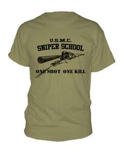 MARINE CORPS SNIPER SCHOOL ~ T SHIRT usmc one shot kill ALL SIZES