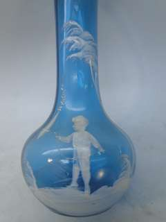 MARY GREGORY GLASS VASE VICTORIAN BLUE CHILD BOY w KITE OLD