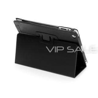 IPAD 3 BLACK LEATHER CASE COVER WITH STAND + SCREEN PROTECTOR & STYLUS